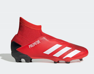 Adidas-Predator-20-3-Laceless-garcons-FG-Chaussures-De-Football-Rouge-Taille-UK6Y-Df-refcrs-153