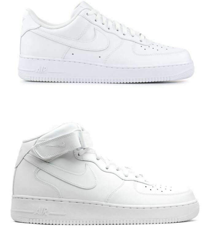 NIKE SHOES MAN WHITE AIR FORCE 1 '07 LOW HIGH SNEAKERS CLASSIC MODE 2019