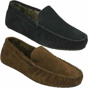 Men/'s House Slipper Indoor Outdoor Rubber Bottom PU Moccasin Slip On-0230