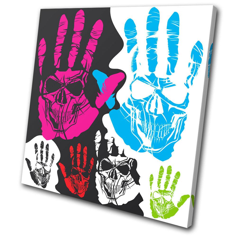 Illustration Skull Hands  SINGLE TOILE murale ART Photo Print