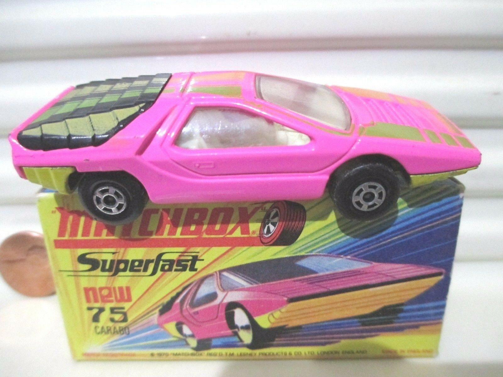 Lesney Matchbox MB75B PINK + Yellow ALFA CARABO Excellent in in in an Excellent Box 61d91c