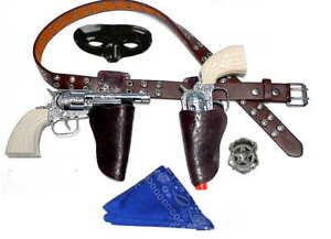 Kids-Masked-Lone-Texas-Ranger-Brown-Holster-Set-w-Toy-Cap-Guns-Bandana-Brn