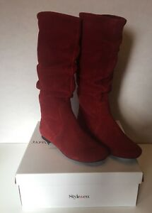 Style & Co. NEW size 6 M Dannyin Red Brick  slip on flat mid Calf Boots