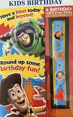 CHARMS  Hallmark Disney TOY STORY KID BIRTHDAY Card With Wearable BAND