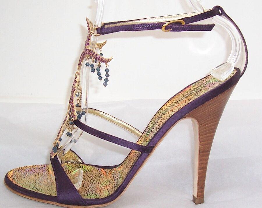 Giuseppe Zanotti púrpura Raso Con Flecos Flecos Flecos de Piedras preciosas sandalias zapatos 39.5  oferta de tienda