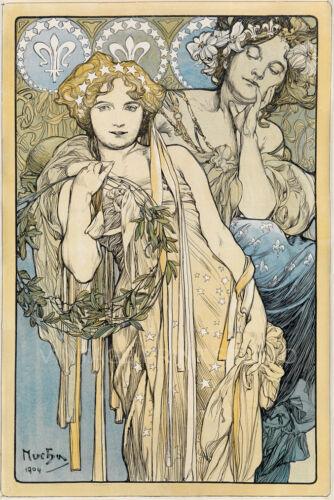 1904 by Alphonse Mucha Giclee Canvas Print 20X30 FRIENDSHIP