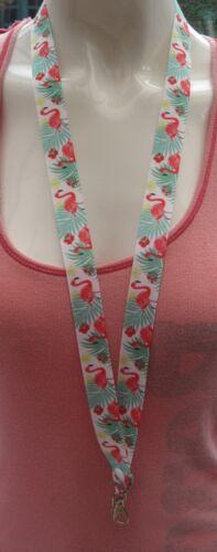 Tropical Rosa Flamingo cordón Breakaway Rose 2 Tamaños ID Badge Funky Lindo