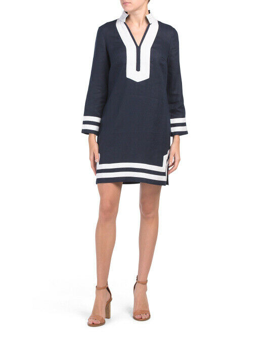 SAIL TO SABLE Linen Classic Long Sleeve TUNIC DRESS Navy + White ($198) STS