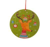 Raz Imports 6 Reindeer Wood Green Disk Ornament 3516351