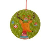 Raz Imports 6 Reindeer Wood Green Disk Ornament 3516351