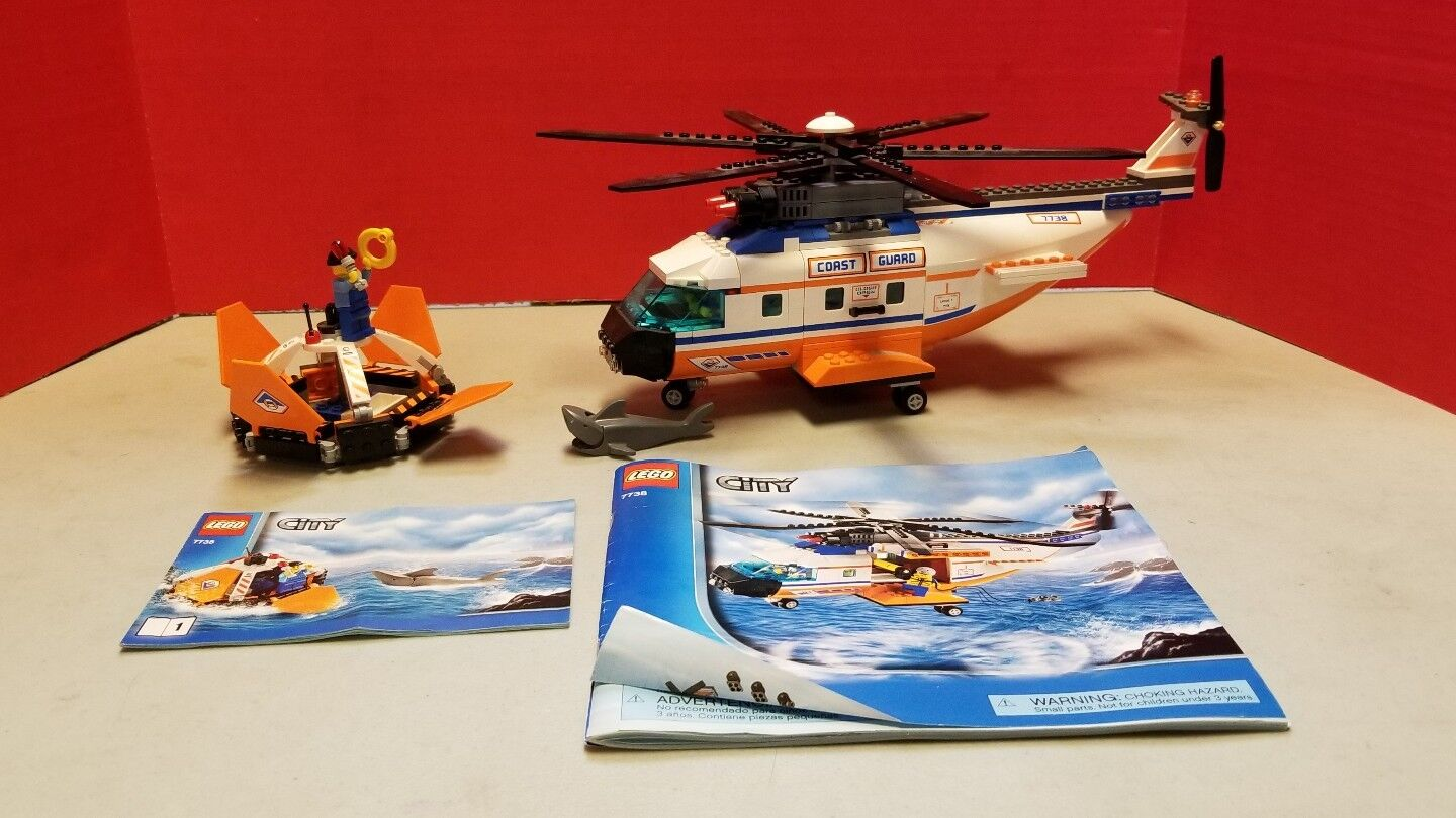 Lego City 7738 Helicoper Coast Guard Rescue Shark Drop Hook Life Raft Pod