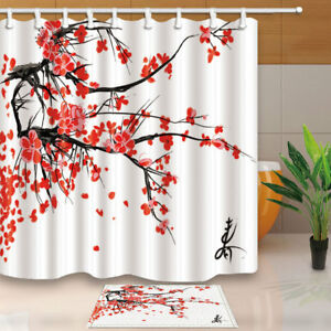 Image Is Loading Plant Decor Japanese Cherry Branch Bathroom Fabric Shower