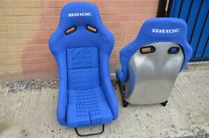2x-Large-size-Bride-Blue-cloth-Silver-Fibre-glass-Bucket-seats-recaro-MR-Model