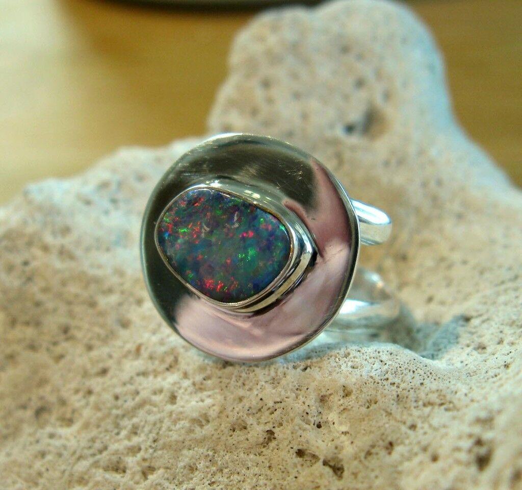 Opal Opal Opal Anello argentoo 925 dimensioni flessibile Designer ring doppio nastro SPIRALE NUOVO WOW r10 c86b1b