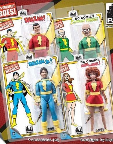 environ 20.32 cm Action Figures Comme neuf sur scellé Carte de nouvelles Figures Toy CO Shazam Retro Series 1; jeu de 4; 8 in