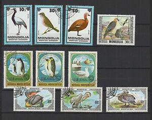 Oiseaux-annees-70-80-Mongolie-10-timbres-obliteres-T1434