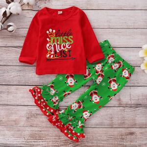 7052e3a54788 2PCS Toddler Kids Baby Girls Xmas Clothes T-shirt Tops + Pants Dress ...