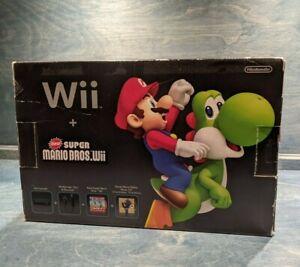 Nintendo Wii Holiday Bundle Black Console w/ New Super Mario Bros Wii Game