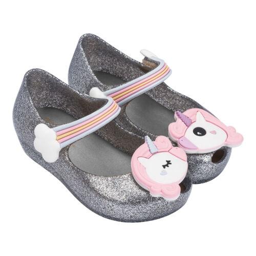 size 5-12 toddler Genuine New Mini Melissa Unicorn Silver Glitz
