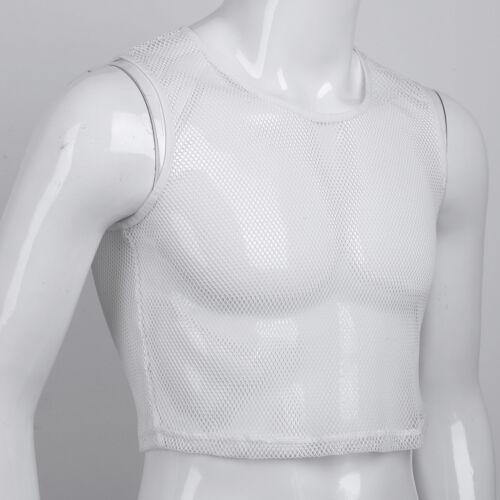 Men/'s Mesh T-Shirt Fishnet See-through GYM Muscle Tank Tops Undershirt Vest Plus