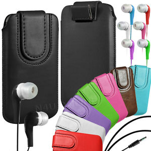 Magnetic-PU-Leather-Pull-Tab-Flip-Case-amp-Earphone-For-Alcatel-Phones
