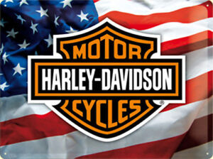 Harley-Davidson-Stars-Rayas-Grande-Relieve-Acero-Signo-400mm-x-300mm-Na