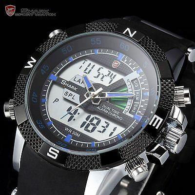 SHARK LED Digital Day Date Alarm Army Rubber Quartz Mens Sport Wrist Watch