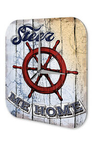 Retro Wall Clock Vintage Decor  Steer me home Acryl Acrylglass 4059081176155