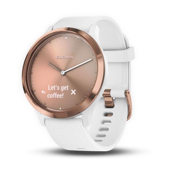 Garmin vivomove Reloj inteligente híbrida deportiva de frecuencia cardíaca-blancoo & rosado oro (SMALL MED)