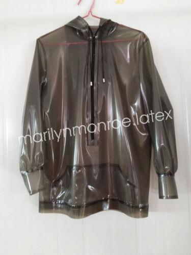 100/%Latex Rubber Stylish Hoodie Smoke Gray Unique Coat Top Size XXS-XXL