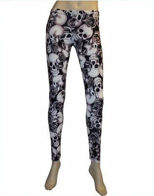 Black /& White Skulls Roses Shaded Tattoo Print Leggings Goth Punk Emo Halloween