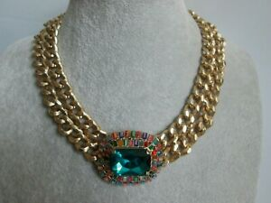 Vintage-BUTLER-amp-WILSON-Multi-Coloured-Glass-Chunky-Power-Statement-Necklace