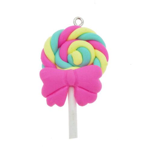 Arcilla Polimérica 10Pcs Lollipop piso nuevo Encantos Colgante para hágalo usted mismo Pulsera Collar