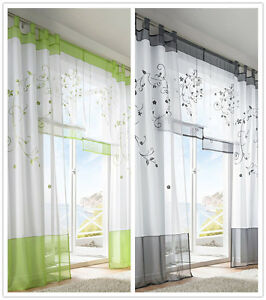 Details about 1PCS Modern Sheer Voile Window Decor Curtains Embroidered  Bedding Living Room