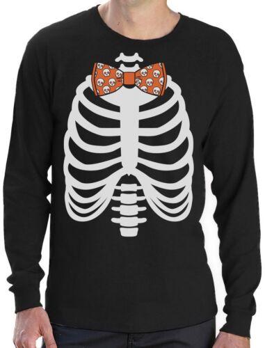 Skeleton Xray Rib Cage Skulls Bow Tie Halloween Costume Long Sleeve T-Shirt Gift