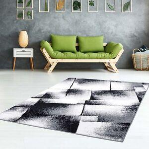 Teppich-Flachflor-Konturenschnitt-Frisee-Meliert-Modern-Grau-Schwarz-Wohnzimmer