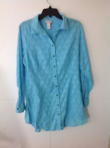 Soft-Surroundings-Womens-Top-Aqua-Blue-Long-Tunic-Button-Front-Embroidered-L