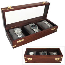 3 WATCH WOODEN STORAGE BOX & DISPLAY CASE WATCHBOX WITH GLASS VIEWING PANEL
