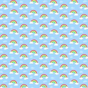 2 X A4 Tela Lona Impresa Arco Iris Nubes Cabello Moño Artesanías de costura