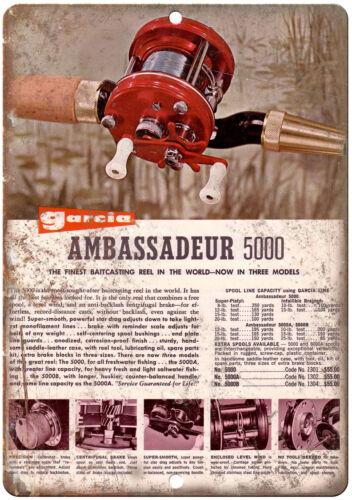 """Garcia Fishing Reels Ambassadeur 5000 10/"""" x 7/"""" reproduction metal sign"""