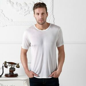 Men 100/% Pure Silk T-shirt Top Knitted Casual V Neck Shirts Long Sleeve Soft