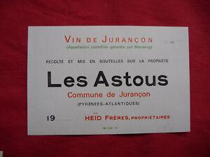 Ancienne-etiquette-de-vin-LES-ASTOUS-Jurancon-HEID-old-french-wine-label