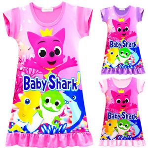 04ee63232c82 Belpashe Kids Girls Nightdress Short Sleeve Baby Shark Print Pajamas ...