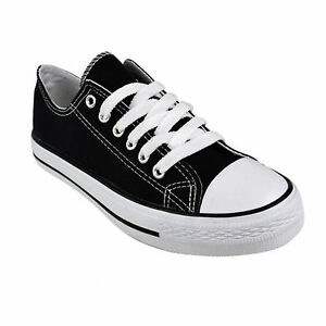 JUSTYOUROUTFIT-Womens-Flat-Lace-Up-Canvas-Trainers-Shoe-BK63