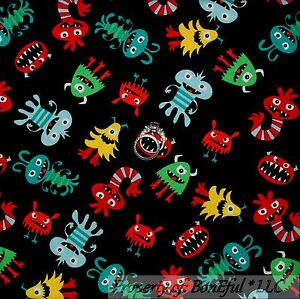 Boneful fabric fq cotton quilt black red blue baby boy for Baby monster fabric