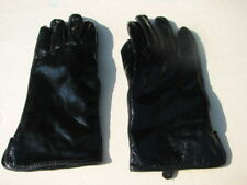 DESIGNER LADIES BLACK PATENT LEATHER EVERYDAY GLOVES BABY FUR LINING SIZE 6.5/ S