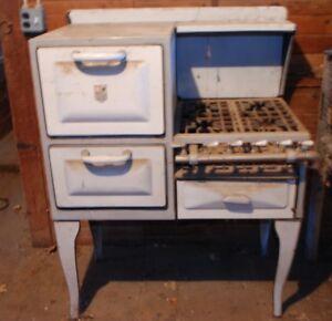 Vintage Antique A B Battle Creek Blue Porcelain Enamel Gas Cook Stove And Oven Ebay