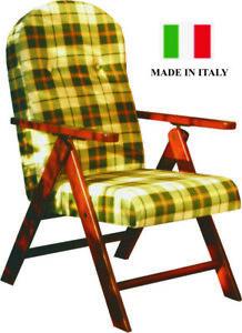 Poltrona Sdraio In Legno.Poltrona Sdraio Amalfi Reclinabile Relax In Legno Marrone Verde Blu