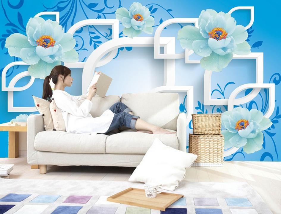 3D Blaue Blaumen-Serie 8 Tapete Wandgemälde Tapete Tapeten Bild Familie DE Summer  | Internationale Wahl  | Moderate Kosten  | Moderate Kosten