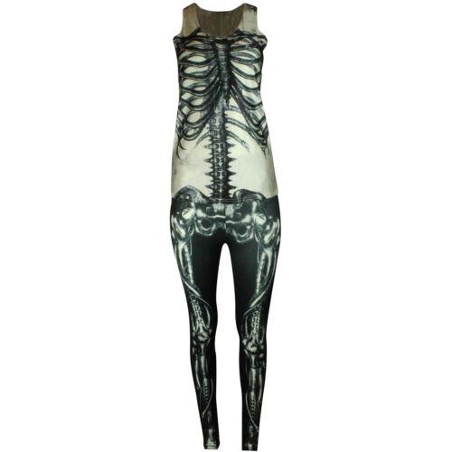 Scheletro da Donna Halloween Completo Costume OSSO Leggings Canotta Costume a raggi X